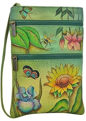 Anuschka Women's Genuine Leather Hand Painted Double Zip Travel Crossbody Bag -