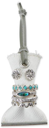 Lucky Brand Silver-Tone 5-Pc. Crystal & Stone Rings & Floral Stud Earrings Set
