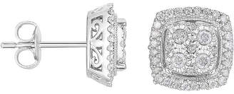 JCPenney FINE JEWELRY TruMiracle 1/2 CT. T.W. Diamond Square Sterling Silver Earrings