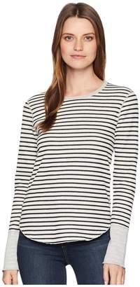 Three Dots Cozy Stripe Long Sleeve Top Women's Clothing