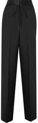 Bottega Veneta Silk Satin-trimmed Wool And Mohair-blend Wide-leg Pants - Black