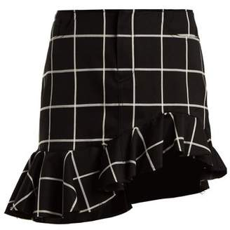 Marques Almeida Marques'almeida - Checked Ruffled Hem Cotton Blend Mini Skirt - Womens - Black White