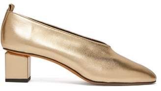 Gray Matters - Mildred Block Heel Metallic Leather Pumps - Womens - Gold