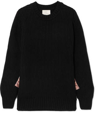 Hillier Bartley - Snake-effect Faux Leather-trimmed Ribbed Cashmere Sweater - Black