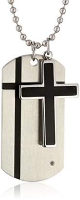 Cold Steel Stainless Steel Black Immersion Plate Cross and 0.01Ct Diamond Dog Tag Men's Pendant Necklace