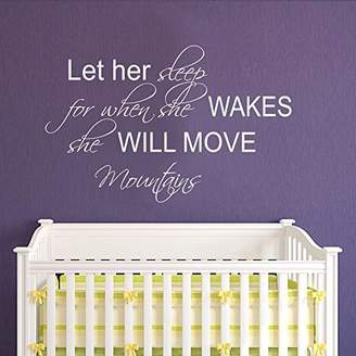 """Möve Saniwa Wall Decal Decor Let Her Sleep for When she Wakes, she Will Mountains - Baby Crib Wall Decal - Nursery Wall Decal - Girl Bedroom D ̈¦cor(, 29.5"""" h x46 w)"""