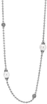 Lagos Sterling Silver Luna Cultured Freshwater Pearl Station Necklace, 18""