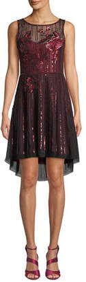 Parker Black Abba High-Low Sleeveless Dress w/ Sequins