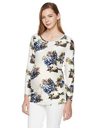 StarMomee Women's Maternity Sided Ruched Tunic Tops Mama Clothes Long Sleeve Floral Pregnancy T-Shirt (