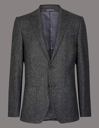 Marks and Spencer Wool Blend Textured Tailored Fit Jacket