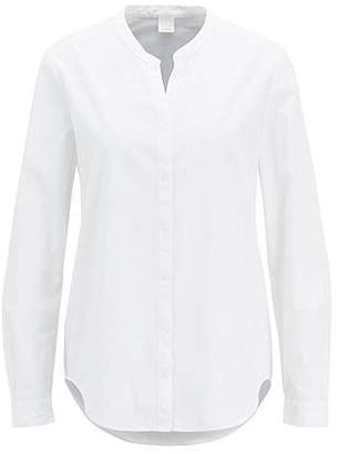 HUGO BOSS Relaxed-fit cotton-poplin blouse with notched neckline