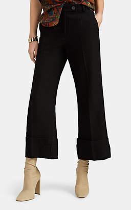 J.W.Anderson Men's Virgin-Wool-Linen Turn-Up Trousers - Black
