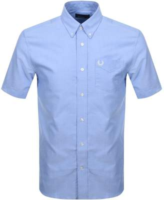 Fred Perry Short Sleeved Oxford Shirt Blue