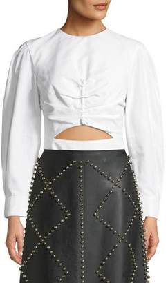 Derek Lam Ruched-Front Long-Sleeve Poplin Top with Cutout