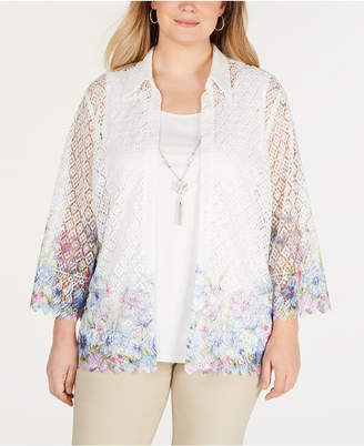 Alfred Dunner Plus Size Southampton Sheer Layered-Look Top