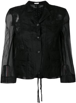 Thom Browne Lace-up Back Single Breasted Sport Coat In Soft Tulle