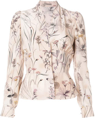 Bottega Veneta fitted waist floral blouse