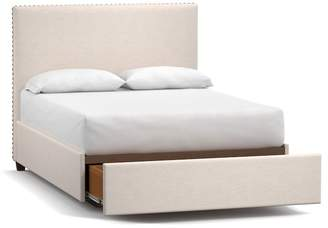 Pottery Barn Raleigh Upholstered Square Tall Footboard Storage Bed