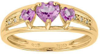 JCPenney FINE JEWELRY Lab-Created Pink Sapphire and Diamond-Accent 3-Stone Heart Ring