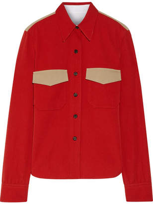 CALVIN KLEIN 205W39NYC - Two-tone Wool-twill Shirt - Crimson