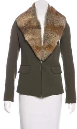 Elizabeth and James Leather-Trimmed Wool Jacket