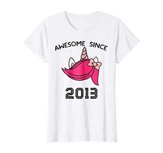 Cute Unicorn Shirt Awesome Since 2013 6th Birthday Gift Tee