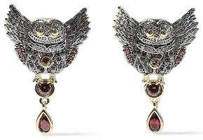 Noir Wise Wings 14-karat Gold-plated Crystal Earrings