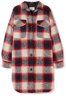 Etoile Isabel Marant Gario Oversized Checked Wool-blend Flannel Coat - Red