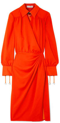 Altuzarra Kat Leather-trimmed Draped Crepe Midi Dress - Bright orange