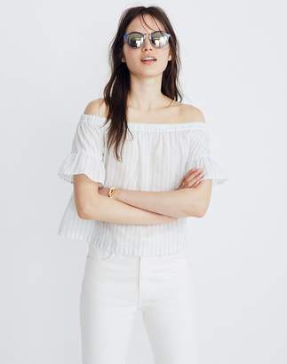Madewell Striped Off-the-Shoulder Ruffle-Sleeve Top