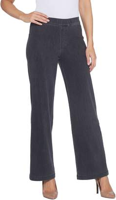 Halston H By H by Petite Knit Denim Pull-On Wide Leg Full Length Jeans