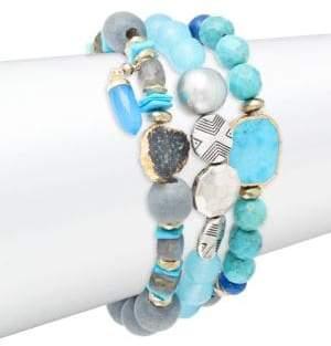 Lapis Set of Three Lapis, Labradorite & Sterling Silver Beaded Bracelets