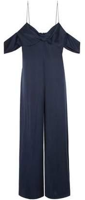 Zimmermann Woman Cold-shoulder Twist-front Washed-silk Jumpsuit Navy Size 0