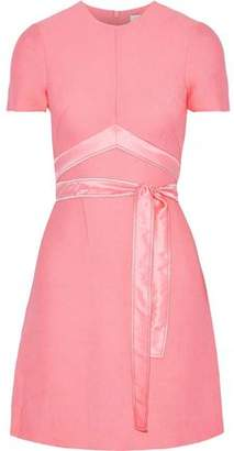 Sandro Isaure Silk Satin-Trimmed Ribbed Woven Mini Dress