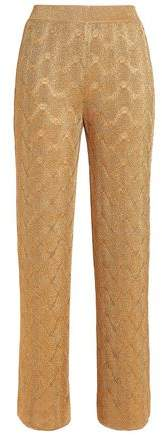 Metallic Crochet-Knit Straight-Leg Pants