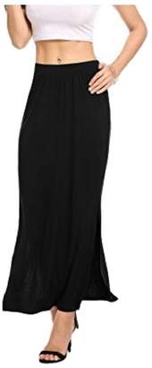LEISHOP Women's Lightweight Long Skirt Ankle Length Maxi Slit Skirts L
