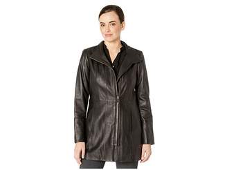 Cole Haan Smooth Leather Car Coat w/ Convertible Collar