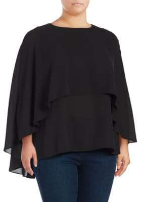 Vince Camuto Plus Cape-Sleeve Top