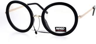 clear JuicyOrange Womens Lens Glasses Oversized Thick Round Frame Eyeglasses Black
