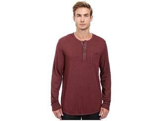 Alternative Smoked Wash Organic Pima Raw Edge Henley Men's Long Sleeve Pullover
