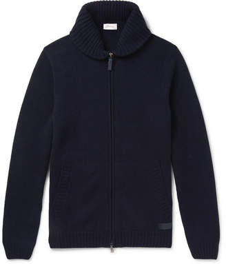 Brioni Shawl-Collar Cashmere Zip-Up Cardigan