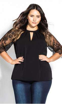 City Chic Citychic Short Lace Sleeve Top - black
