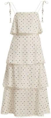Zimmermann Polka-dot print linen and cotton-blend dress