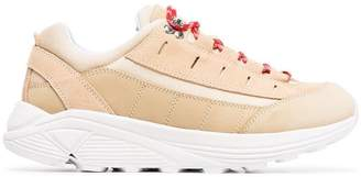 Ganni brown and red iris leather sneakers