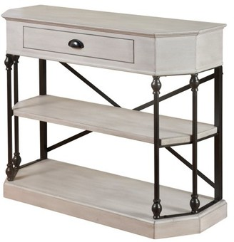 Generic 3 Tier Single Drawer Clipped Corner Console Table - Black Metal Frame - Antique White Finish