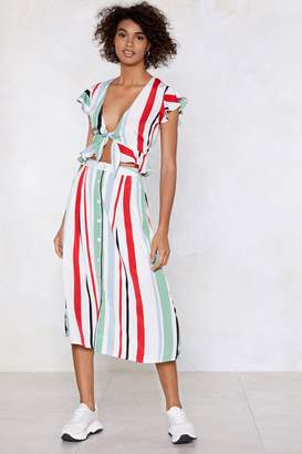 Nasty Gal Stripe Down to It Midi Skirt