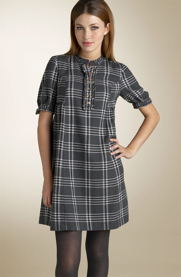 Juicy Couture Plaid Flannel Ruffle Trim Dress