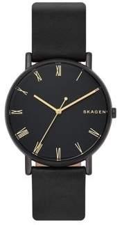 Skagen Signatur Stainless Steel & Leather-Strap Watch
