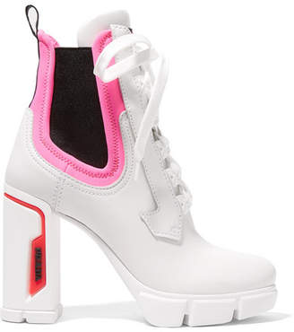 Prada Logo-embossed Rubber And Neoprene-trimmed Leather Ankle Boots - White