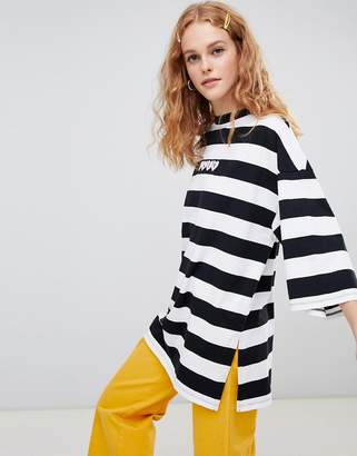 Lazy Oaf oversized stripe t-shirt with lazy slogan